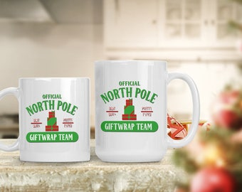 Christmas Mug Gift, North Pole Gift Wrap Team,Funny Holiday Mug, Funny and Humorous Mug, Christmas Eve Coffee Lover Gift Idea, Tea Cup Mug