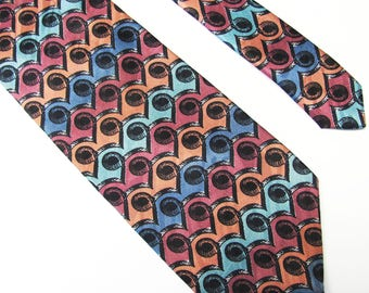 Vintage 1990'  Giorgio  Benelli Made In Italy Teal Rust Rose And Blue Design Mens Tie Excelent Shape