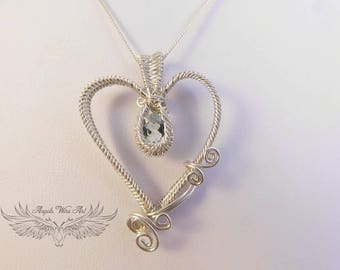 Handmade wire wrapped heart Pendant