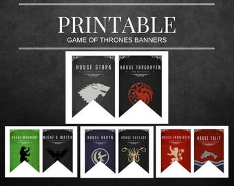 Game Of Thrones Printable House Banners  NON-Customizable
