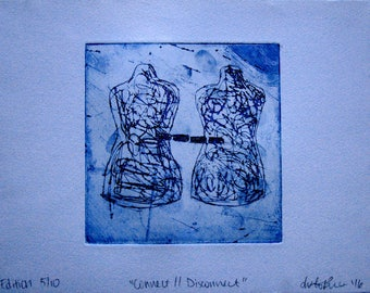 "Print ""Connect//Disconnect"" Intaglio Copper Plate Etching Art"