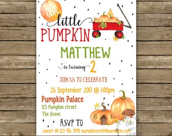 Pumpkin Birthday Invitation, Fall Birthday Invitation, Pumpkin Birthday, First Birthday, Printable invitation, INSTANT DOWNLOAD