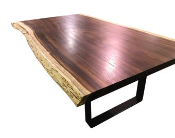 Live edge dining table, Live edge with steel flat legs, unique dining table, custom slab table conference table