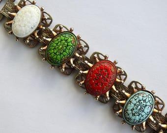 Book Chain Pressed Glass Bracelet
