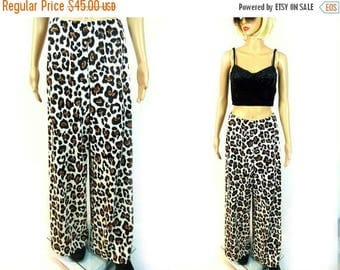 tempSALE 70s Animal Print Lounge Pants Wide Leg Bell Bottom Resortwear Disco Loungewear Hip Hugger Trousers High Waist Slacks Stretch Boho H