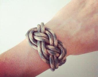 Grey and beige sailor knot bracelet