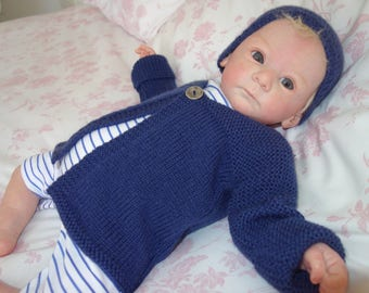 Newborn or reborn baby cardigan/sweater with matching beanie style hat hand knitted in navy blue DK 100% super wash wool