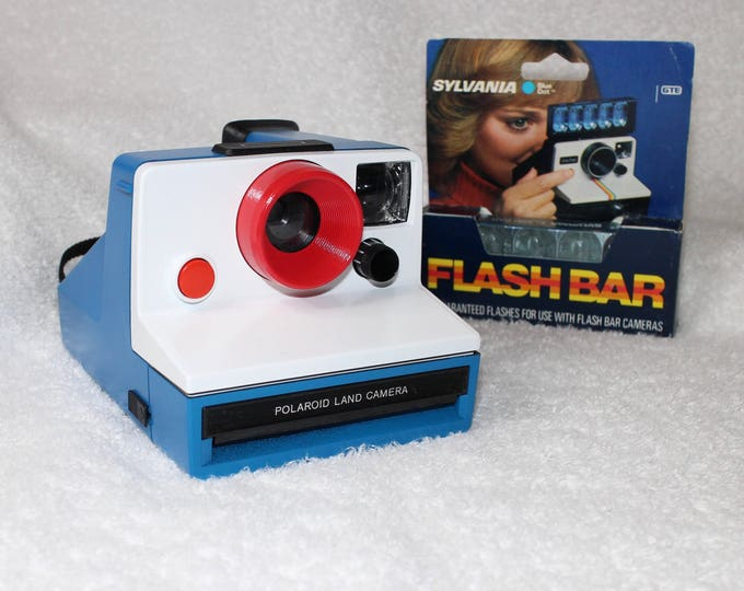 Classic Polaroid Box Camera Cleaned and Tested - Upcycled Red, White and Blue