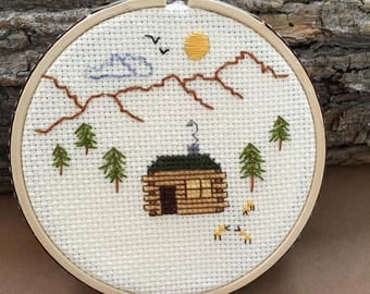 Log cabin in the mountains cross stitch