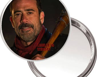 Unique Button Mirror with a picture of Negan played by Jeffrey Dean Morgan in The Walking Dead.