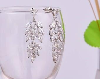 Cubic Zirconia Drop Earrings Bridal Earrings Crystal Earrings Wedding Dangle Drop Earrings Teardrop Earrings Wedding Bridal Jewelry