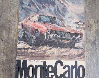 Vintage Original 1969 The AMX at Monte Carlo Poster Sport Poster Automobilia AMC GM Sports Car Motor Racing