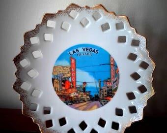 Mid Century 50's Las Vegas porcelain plate Downtown Las Vegas