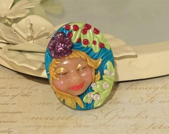Goddess Fairy Elf Face Cabochon Beading Focal Pendant - C769