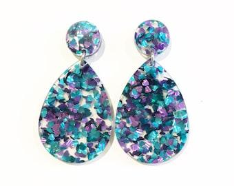 Turquoise and purple glitter drop earrings, acrylic earrings, lasercut acrylic, glitter geometric earrings