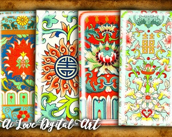Digital collage sheet instant download, 1x2 inch domino digital printable images Chinese Motif, download cabochon template rectangle pendant