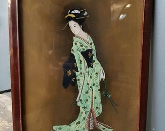 Vintage Japanese painting of a lady reverse painted on glass circa 1940