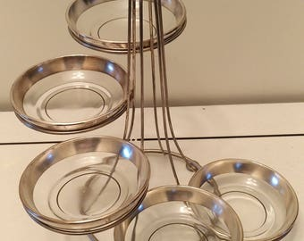 Art Deco 5 silver overlay glass dishes compotes center table display circa 1930s