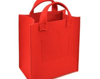 Felt shopper bag Go Shop, red
