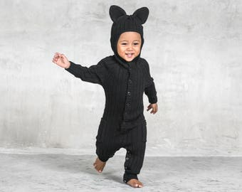 Panther Toddler Halloween Costume for Baby and Toddler - Handmade Knit Animal Romper - Blamo Black Cat Costume - Unique Jumper - Animal PJ's