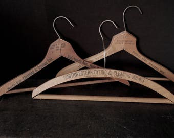 Vintage Old Advertising Wood Hangers - Dry Cleaner Wooden Suit Hanger Collection - Store Prop Display -  Wall Display
