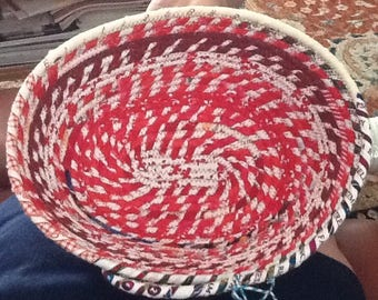 Red Candy Striped Oval Coiled clothesline Basket