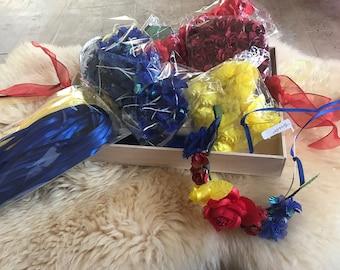 12 disney party favor beauty and beast  party diy wreath kids birthday diy Flower Crown kit diy headband kit