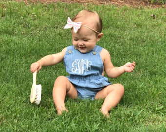 Chambray Bubble Romper with Monogram