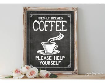 Instant 'Freshly Brewed COFFEE Please Help Yourself' Printable Coffee Bar Sign Wedding OR Event 8x10, 11X14 Party Printable Chalkboard
