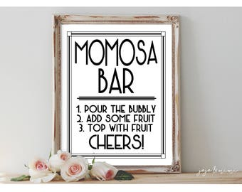 Instant 'MOMosa BAR' Printable Sign Party Decor Mimosa Table Bridal or Baby Shower Wedding Event Size Options
