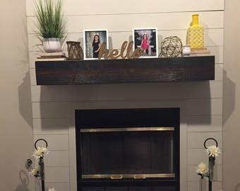 "Dark Walnut Fireplace Mantle .Rugged Wood Mantel.Floating shelf.Wooden Mantel.TV Shelf.60"" Long x 5.5"" Tall x 7.5"" Deep.Fireplace Decor."