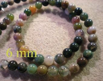 Set of 10 MULTICOLOR green JADE 6mm gemstone beads