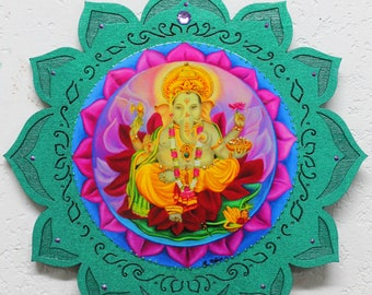 Ganesha, Hindu God, Lord Ganesh, wood Lotus plaque, The Lord of success and remover of obstacles, Blue Lotus plaque