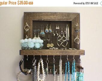 ON SALE 15% OFF Mini Kona Stained Wall Mounted Jewelry Organizer, Wall Organizer, Jewelry Display, Necklace Holder, Earring Organizer