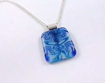 Unique Blue Puddle Fused Glass Pendant - Fused Glass Jewelry - Glass Necklace - Gift for Her