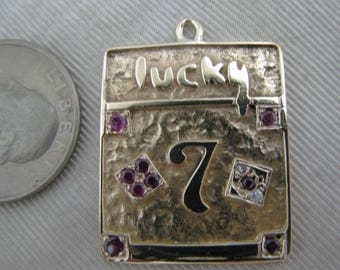 14k Yellow Gold Lucky 7 Square Pendant Only with Rubies and Diamonds
