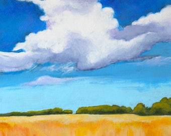 "Cloud Tower Original Landscape Scene Kansas Painting Acrylic on Board 12""x12"""
