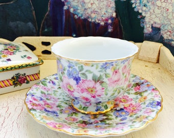 Floral Chintz Teacup, Blue, Green, Pink Tea Cup and Saucer with Gold Gilt Rim