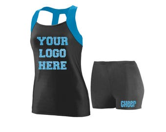 Cheer Practice Set Your Logo  BLUE TANK