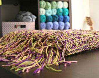 Chunk warm cozy crochet girls throw lap blanket (Pink Purple Green)