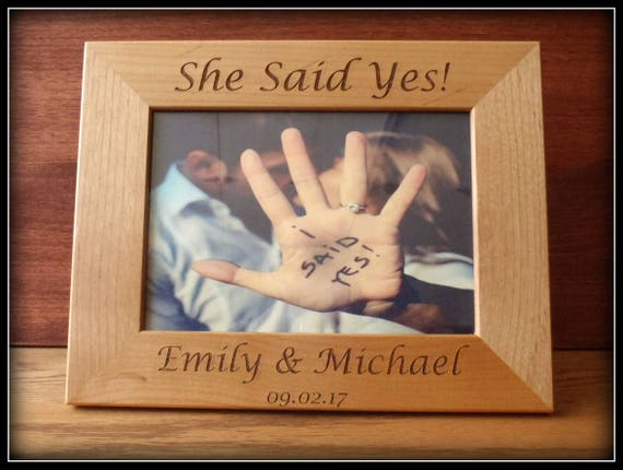 Engagement picture frame she said yes engagement gift photo like this item negle Choice Image
