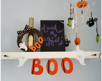 BOO Halloween handcrafted ghost felt bunting