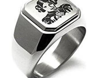 Princess Leia Organa Star Wars Engraved  Biker Style Ring.