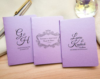 100+ Lilac Purple Pearlised Mini Notebook Favours. Custom wedding favours, Violet place cards. Unique Notepad favour. Personalised favours
