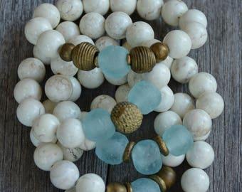 African Trade Bead Bracelets (Aqua)