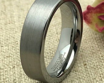 6mm Personalized Tungsten Wedding band, Tungsten Ring, Custom Engraved Ring, Promise Ring for Him, Men's Wedding Band, Couples Ring