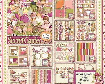 On Sale 50% Secret Garden Digital Scrapbook Kit Big Bundle Collection - Digital Scrapbooking