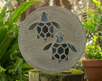 "Baby Sea Turtle Hatchlings Stained Glass Stepping Stone 18"" Diameter Perfect for Your Garden Patio or a Path to Your Backyard Fish Pond #799"