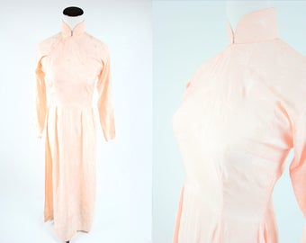 1950's Peach Satin Chinese Style Dress