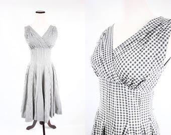 1950's Cotton Black & White Gingham Sleeveless Sundress